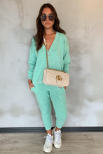 Load image into Gallery viewer, CELINE Mint Cream Stitch Knitted Zip Front Loungewear Set