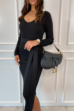 Load image into Gallery viewer, GINA Black Long Sleeve V Neck Ribbed Dress