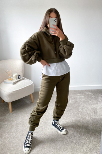 Dokota Khaki cropped hoodie undershirt Loungewear set