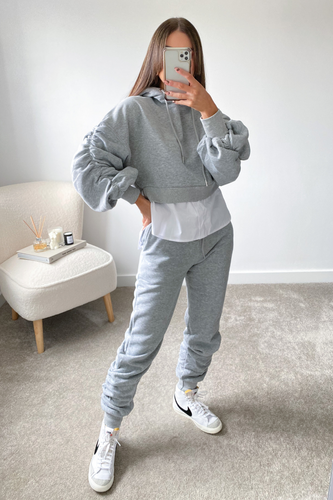 Dokota Grey cropped hoodie undershirt Loungewear set