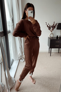 NICKY Brown Frill Hem Tracksuit
