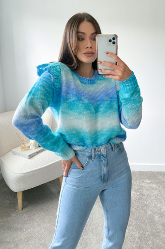 Tinkerbell Turquoise Knitted Frill shoulder Jumper