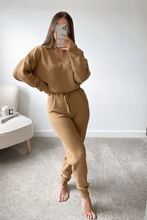 Load image into Gallery viewer, Skylar Camel V-neck Collared loungewear set