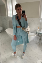 Load image into Gallery viewer, KHLOE Powder Blue Knitted 3-piece Loungewear set