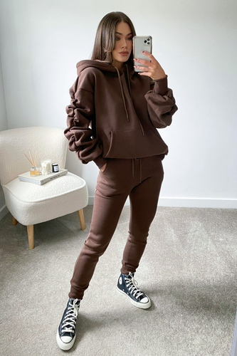 JASMINE Chocolate Brown Ruched Sleeve Hooded Jogger Set