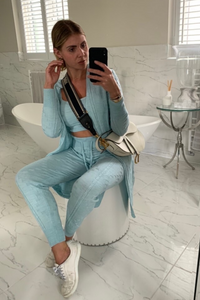 KHLOE Powder Blue Knitted 3-piece Loungewear set