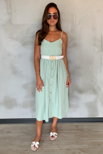 FAITH Mint Cami Button Up Midi Dress