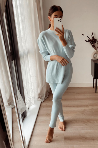 DOLA Baby Blue Ribbed Long Sleeved Legging Loungewear Set