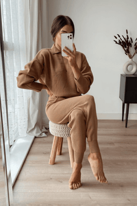 Skylar Camel V-neck Collared loungewear set