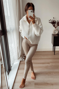 Ruby Cream knitted High Neck Zip Up Cardigan