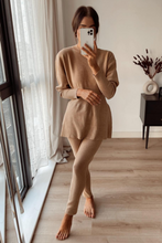 Load image into Gallery viewer, DOLA Camel Ribbed Long Sleeved Legging Loungewear Set