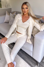 Load image into Gallery viewer, KIMMY Cream Knitted 3-piece Loungewear set