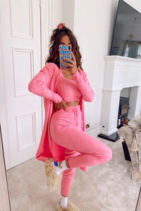 KHLOE Pink Knitted 3-piece Loungewear set