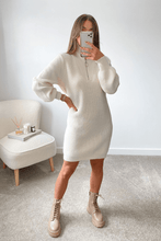 Load image into Gallery viewer, Elouise Cream Zip up High Neck Jumper Dress