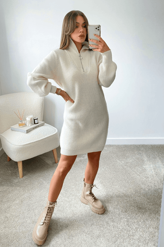 Elouise Cream Zip up High Neck Jumper Dress