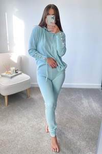 Nylah Powder Blue Hooded Button Sleeve loungewear set