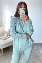 Load image into Gallery viewer, Nylah Powder Blue Hooded Button Sleeve loungewear set