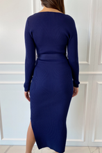 Load image into Gallery viewer, GINA Navy Long Sleeve V Neck Ribbed Dress