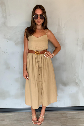 FAITH Camel Cami Button Up Midi Dress