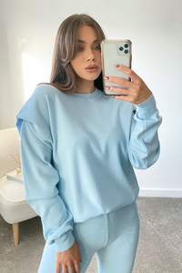 Veyah Powder Blue puff shoulder loungewear set