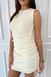 SARAH Cream Ruched Sleeveless Knitted Midi Dress