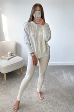 Load image into Gallery viewer, Miley Beige Dogtooth Hooded Loungewear Set