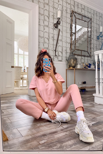 Stella Blush Pink V Neck Loungewear Set
