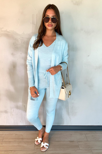 KIMMY Powder Blue Knitted 3-piece Loungewear set