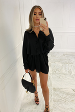 Load image into Gallery viewer, Shay Black Button Up Oversized Shirt Dress