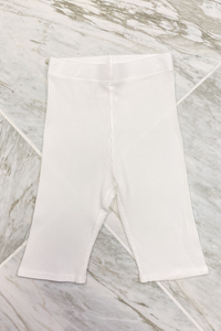Louisa White Seamless Ribbed Clycing Shorts