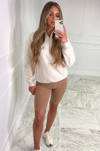 Louisa Taupe Seamless Ribbed Clycing Shorts