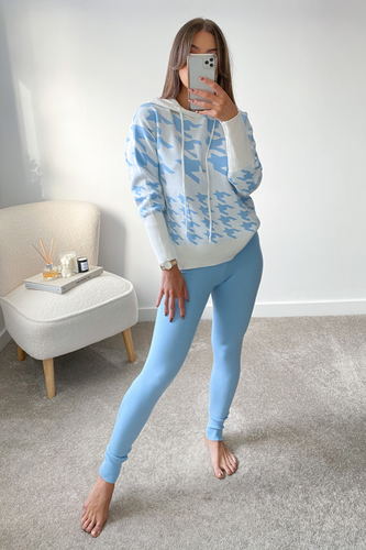 Miley Blue Dogtooth Hooded Loungewear Set