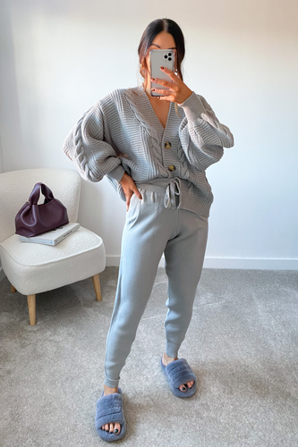 CAPRI Grey Cable Knit Cardigan And Joggers Set