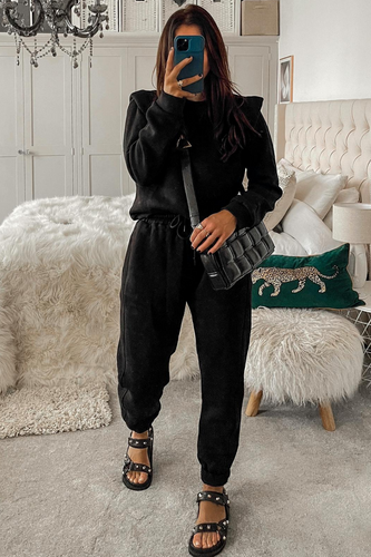 Layla Black shoulder pad top and jogger set