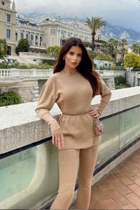 DOLA Camel Ribbed Long Sleeved Legging Loungewear Set