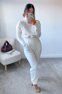 LAURA Cream Turtle Neck Soft Knit Loungewear Set
