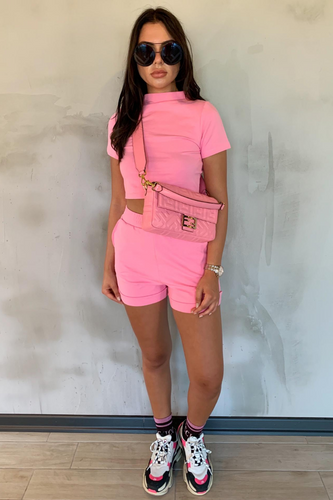 PARIS Pink High Neck Boxy Fit Short Co-ord