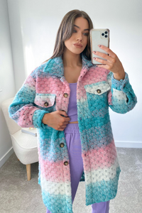 Kiara Sky Blue Knitted Button Up Long Shacket