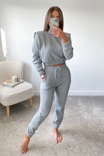 Load image into Gallery viewer, STARLETTE Grey Waffle Texture Side Detail Loungewear set