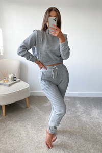 STARLETTE Grey Waffle Texture Side Detail Loungewear set