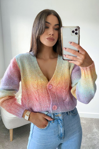 Emmie Multi colour Cable Knit Button Up Cardigan