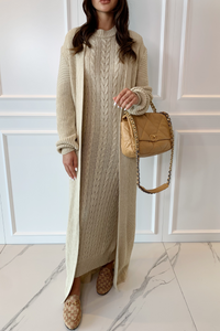 CARLA Sand Maxi Cardigan And Dress Knitted Set