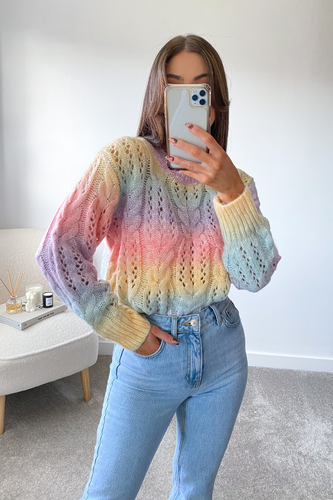 Tiana MultiColour Cable Knit longsleeve Jumper