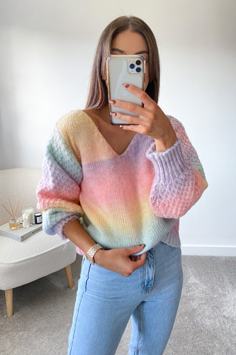 Hallie Multi colour Wide neck knitted jumper