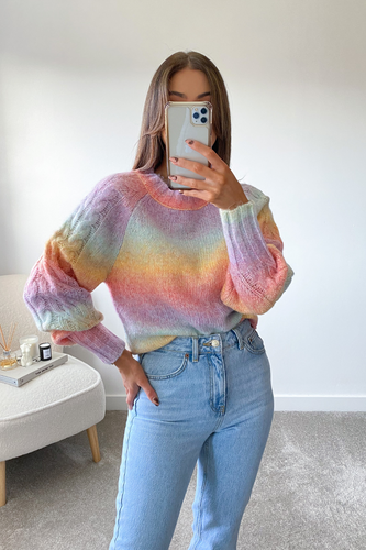 Nellie Multi Colour Cable Knit  Longsleeve jumper