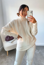 Load image into Gallery viewer, CHARLOTTE Cream Cable Knit Turtle Neck Loungewear Set