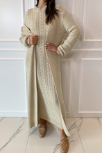 Load image into Gallery viewer, CARLA Sand Maxi Cardigan And Dress Knitted Set