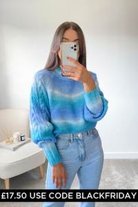 Nellie Turquoise Cable Knit  Longsleeve jumper