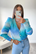 Load image into Gallery viewer, Ciara Turquoise Knitted Button Puff Shoulder cardigan