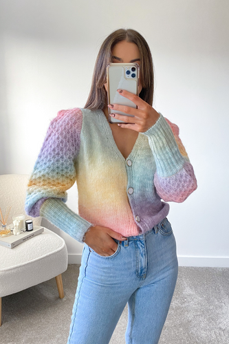 Ciara Multi Colour Knitted Button Puff Shoulder cardigan